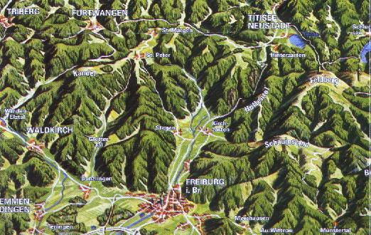 Südschwarzwald Karte.Freiburg Schwarzwald De Landkarten Pläne Geografie Zum Schwarzwald